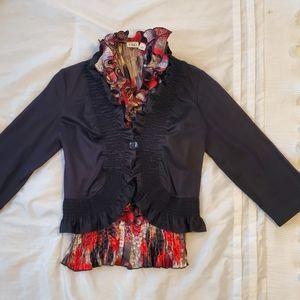 Cato Black Jacket & Black/Red Blouse Set